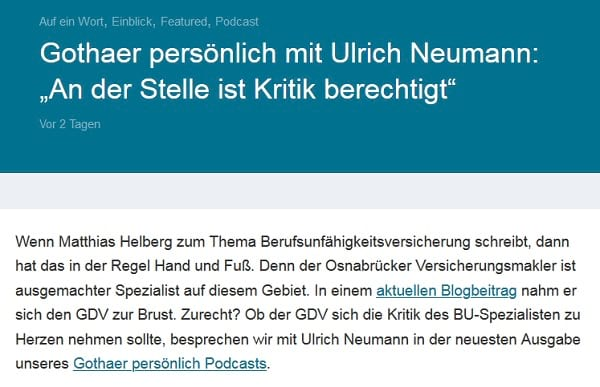 Ulrich Neumann von der Gothaer zu unserer Kritik am GDV: An der Stelle ist Kritik berechtigt.