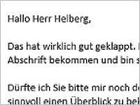 Hallo Herr Helberg, das hat wirklich gut geklappt.