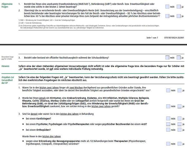 Gesundheitsfragen BU EGO top des HDI für VWI Mitglieder