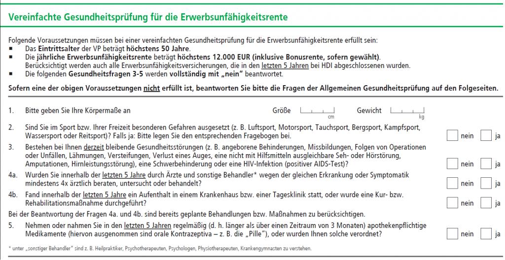 HDI Erwerbsunfähigkeitsversicherung EGO Basic mit vereinfachter Gesundheitsprüfung.