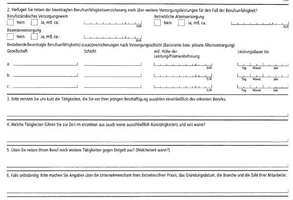HDI Fragebogen zur finanziellen Angemessenheit der BU Dynamik