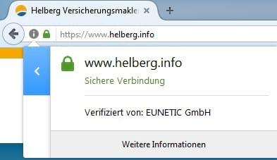 www.helberg.info erreichen Sie jetzt über eine verschlüsselte https-Verbindung. Zu erkennen am geschlossenen Schloss-Symbol.