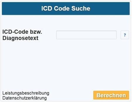 Klicken, um die ICD Code Suche zu starten.