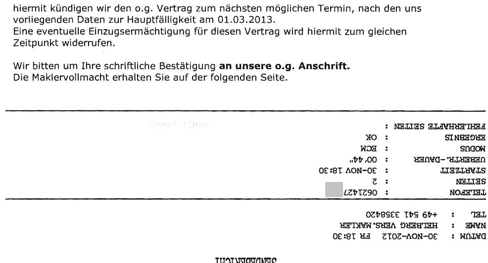Fax Kündigung mit Sendeprotokoll an die Inter Versicherungsgruppe
