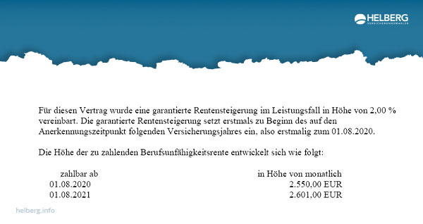 Die Leistungsdynamik in der Berufsunfähigkeitsversicherung erhöht die BU-Rente von 2.500.- auf 2.601.- € - binnen 13 Monaten.