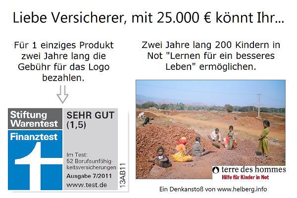 """Mit 25.000 € lieber die Gebühr für 2 Jahre Finanztest-Logo bezahlen, oder 200 Kindern in Not zwei Jahre lange ein """"Lernen für ein besseres Leben"""" finanzieren?"""
