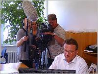 Dreharbeiten zu NDR Markt mit Matthias Helberg