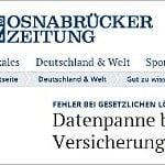 Neue Osnabrücker Zeitung:<br />Datenpanne bei schwarzer Liste der Versicherungen