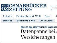 Neue Osnabruecker Zeitung: Datenpanne bei Versicherungen. Grafikquelle:noz.de
