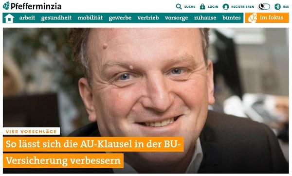 Screenshot Pfefferminzia: so lässt sich die AU-Klausel in der BU-Versicherung verbessern