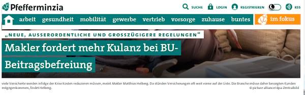 Pfefferminzia: Makler fordert mehr Kulanz bei BU-Beitragsbefreiung. Screenshot von https://www.pfefferminzia.de/neue-ausserordentliche-und-grosszuegigere-regelungen-makler-fordert-mehr-kulanz-bei-bu-beitragsbefreiung/