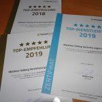 Wir auf ProvenExpert: Top Empfehlung 2018, 2019, Top Dienstleister 2019