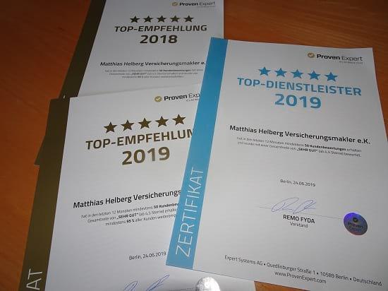 Das Bewertungsportal Provenexpert zeichnet Helberg Versicherungsmakler als Top Dienstleister 2019 und Top-Empfehlung 2018 und 2019 aus