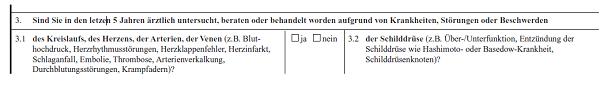 Provinzial Rheinland Gesundheitsfrage Berufsunfähigkeitsversicherung