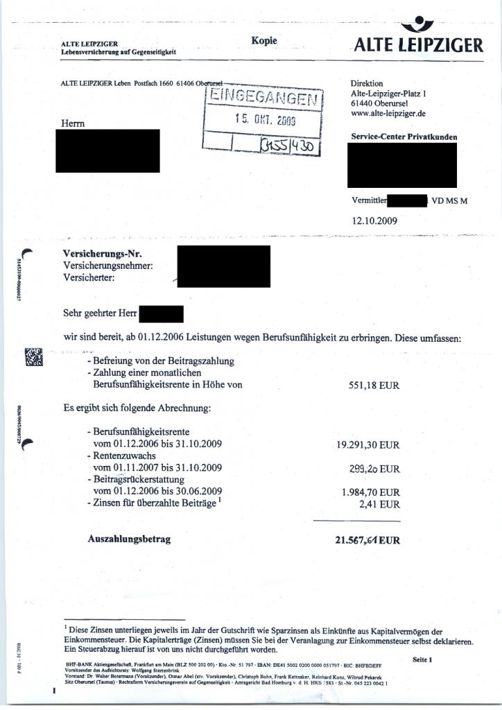 Auch diese Berufsunfähigkeitsrente wurde von der Alten Leipziger anerkannt.