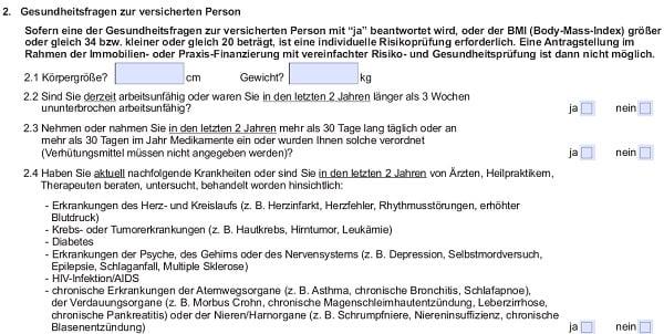 RLV-Aktion bei Immobilienfinanzierung: Gesundheitsfragen der Stuttgarter