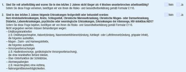 RLV-Aktion bei Immobilienfinanzierung, Gesundheitsfragen der Hannoverschen