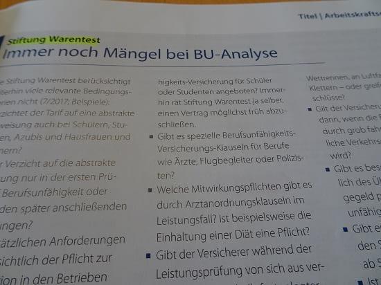 Stiftung Warentest: Immer noch Mängel beim BU Test