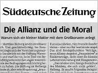 Süddeutsche Zeitung: Helberg wirft Allianz Heuchelei vor