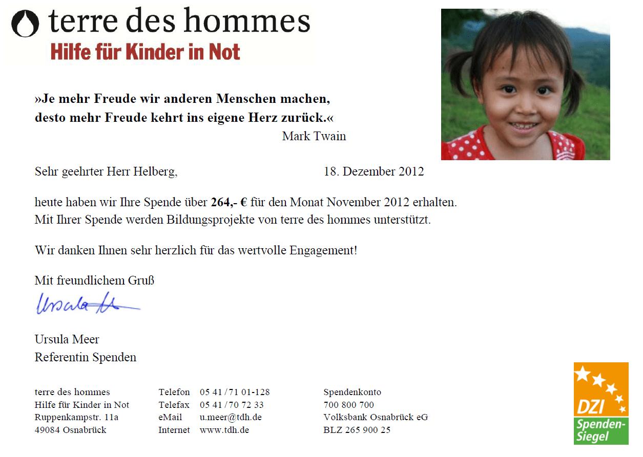 Lernen für ein besseres Leben: Eingangsbestätigung von terre des hommes für November 2012