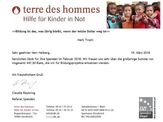 Spendenbescheinigung terre des hommes für Januar 2018