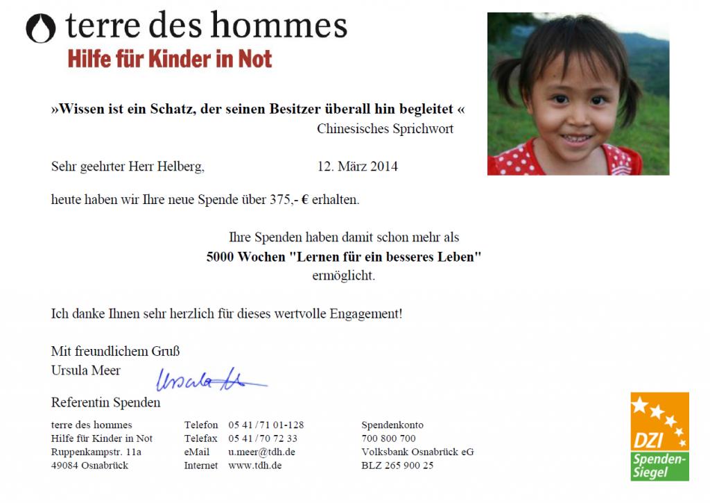 Spendenbestätigung tdh für Februar 2014