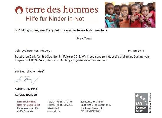 Spendenbescheinigung terre des hommes für Februar und März 2018