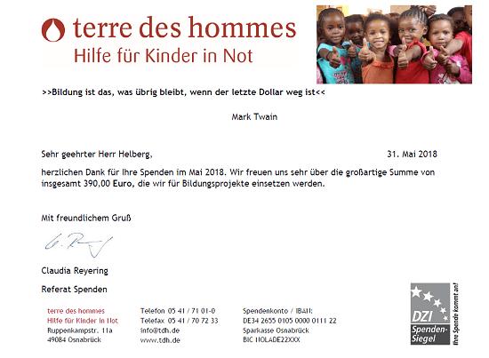 Spendenbescheinigung terre des hommes für April 2018