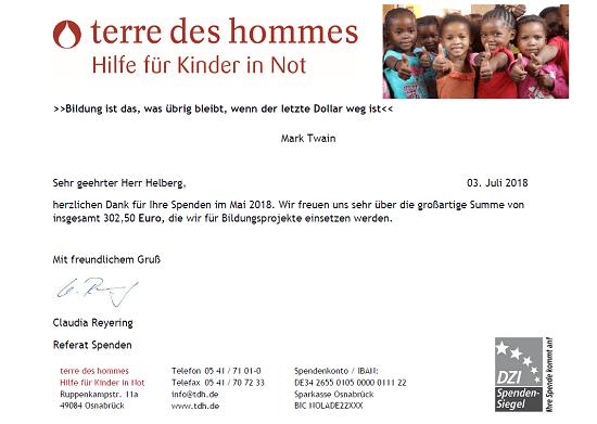Spendenbescheinigung terre des hommes für Mai 2018