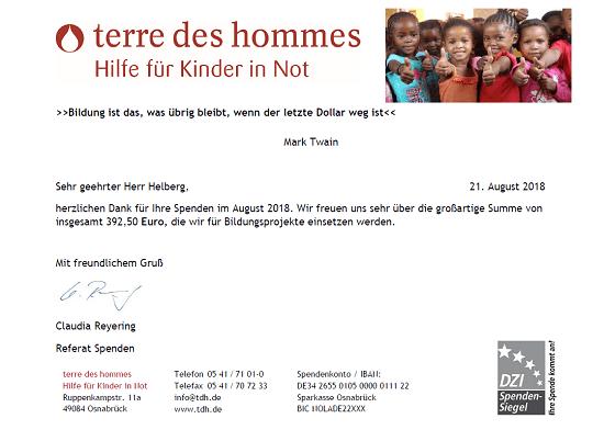 Spendenbescheinigung terre des hommes für Juni 2018