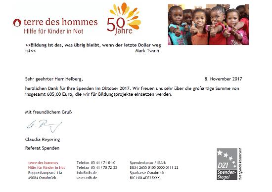 Spendenbescheinigung terre des hommes, Stand September 2017
