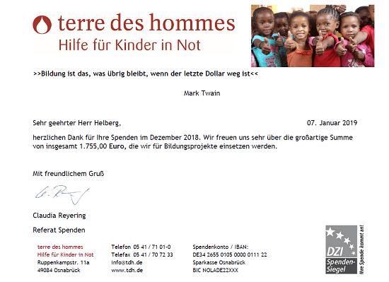 Spendenbescheinigung terre des hommes für August bis November 2018