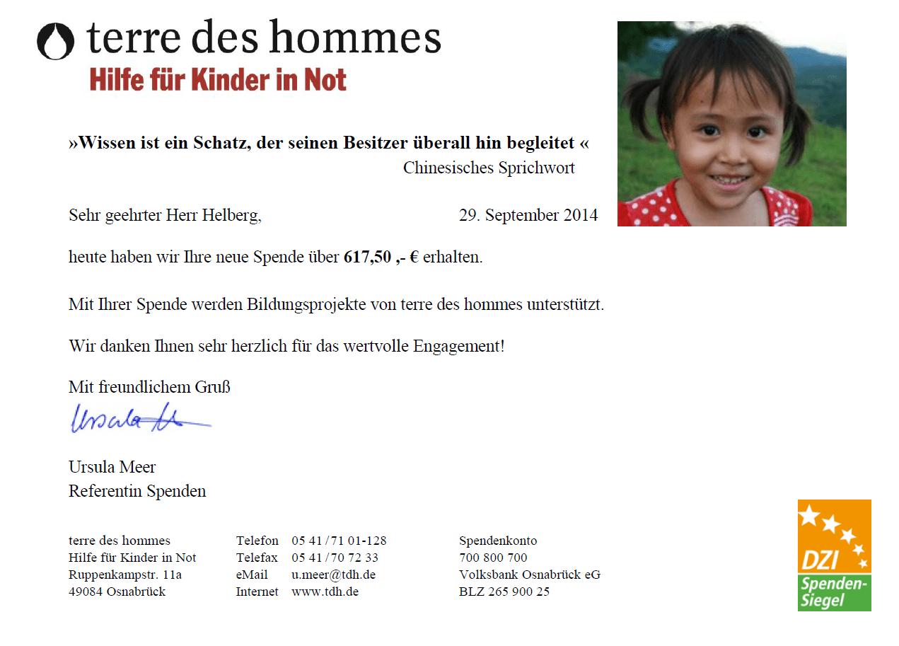 Spendenbescheinigung zur Kooperation mit terre des hommes, August 2014