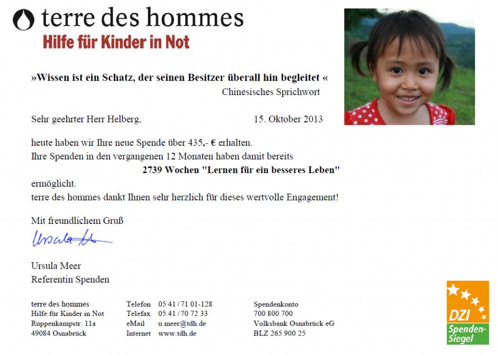 """1 Jahr Kooperation mit terre des hommes: 2.739 Wochen """"Lernen für ein besseres Leben"""""""