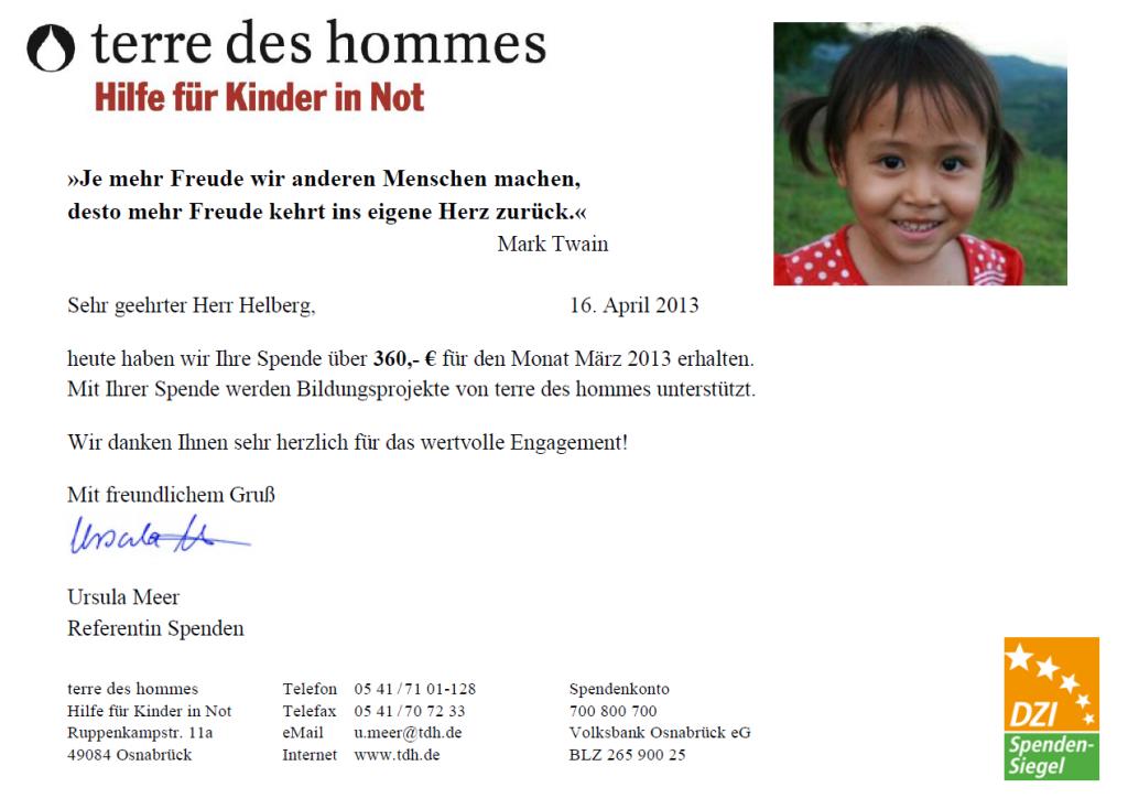 Spendenbescheinigung von terre des hommes für März 2013