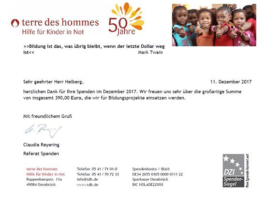 terre des hommes spendenbescheinigung für 11.2017