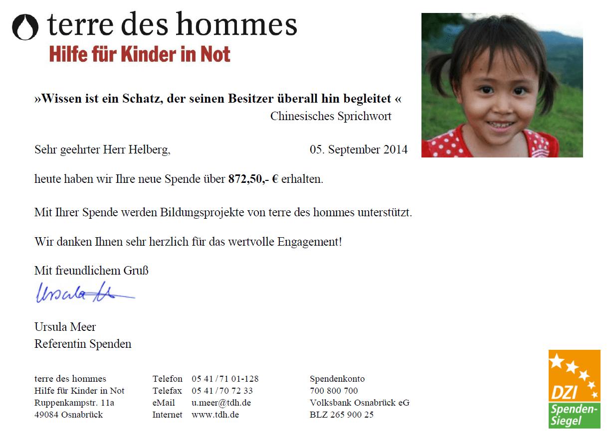terre des hommes: Spendenbescheinigung für Juni & Juli 2014