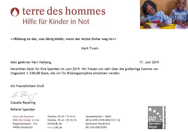 Spendenbescheinigung terre des hommes für Januar bis April 2019