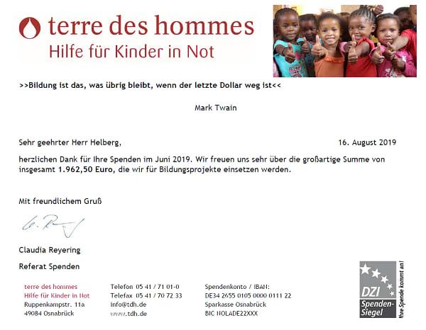 Spendenbescheinigung terre des hommes für Mai bis Juli 2019