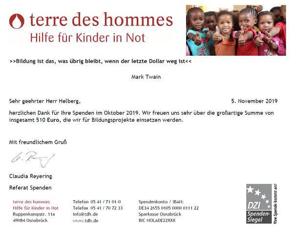 Spendenbescheinigung terre des hommes für August 2019