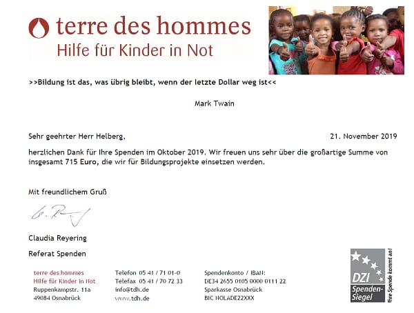 Spendenbescheinigung terre des hommes für September und Oktober 2019