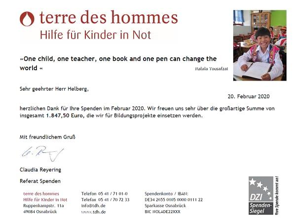 Spendenbescheinigung terre des hommes für November 2019 bis Januar 2020