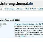 Unsere Finanztest-Kritik im Thema des Tages beim Versicherungsjournal