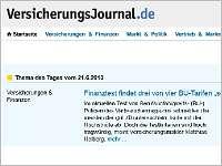 Unsere Finanztest-Kritik als Thema des Tages im Versicherungsjournal