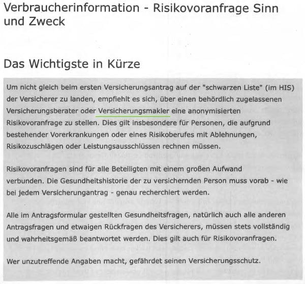 Auch die Verbraucherzentrale empfiehlt eine Risikovoranfrage. Quelle: www.verbraucherzentrale.de