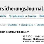 Das Versicherungsjournal berichtet über unsere Kooperation mit terre des hommes