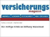 """Versicherungsmagazin: """"BU: Heftige Kritik an Stiftung Warentest"""""""