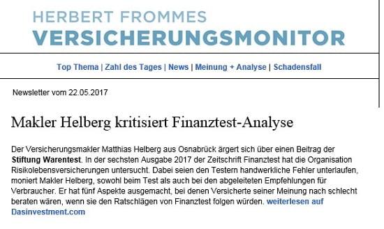 Versicherungsmonitor: Helberg kritisiert Finanztest-Analyse