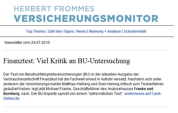 Die Kritik am BU-Test der Stiftung Warentest auch in Herbert Frommes Versicherungsmonitor