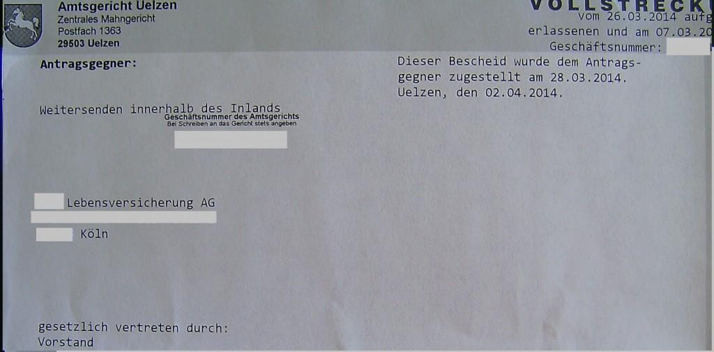 Vollstreckungsauftrag gegen Kölner Lebensversicherer